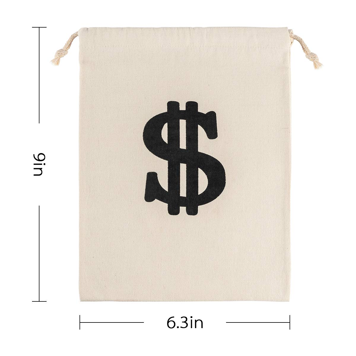 Bank Robber Pirate Cowboy Cosplay Theme Party Apipi 4 Pack 6.3 x 9 Inches Canvas Money Bag Pouch with Drawstring Closure Canvas Cloth Dollar Sign Carrying Sack for Toy Party Favor