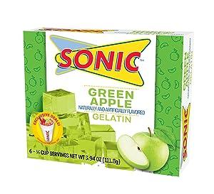 Sonic Gelatin Mix, Green Apple, 3.94 OZ (Pack of 6)