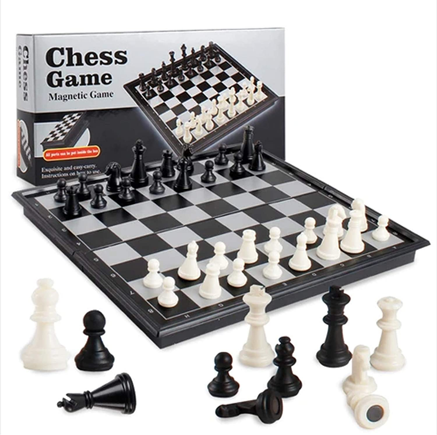 CLASSIC MAGNETIC CHESS SET WOODEN FOLDING CHESS BOARD HANDMADE PORTABLE TRAVEL CHESS-3 IN 1 CHESS BOARD GAME MINI CHESS SET- FOR KIDS AND ADULTS (SMALL)