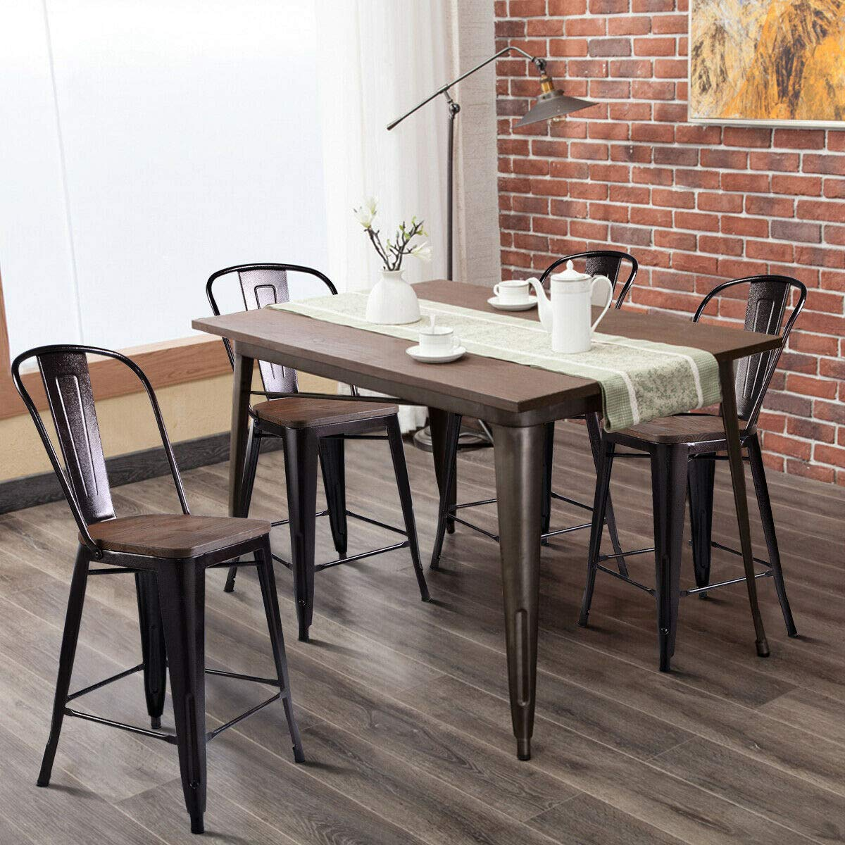 COSTWAY Tolix Style Dining Stools with Wood Seat and Backrest, Industrial Metal Counter Height Stool, Modern Kitchen Dining Bar Chairs Rustic, Copper Height 24 4PC