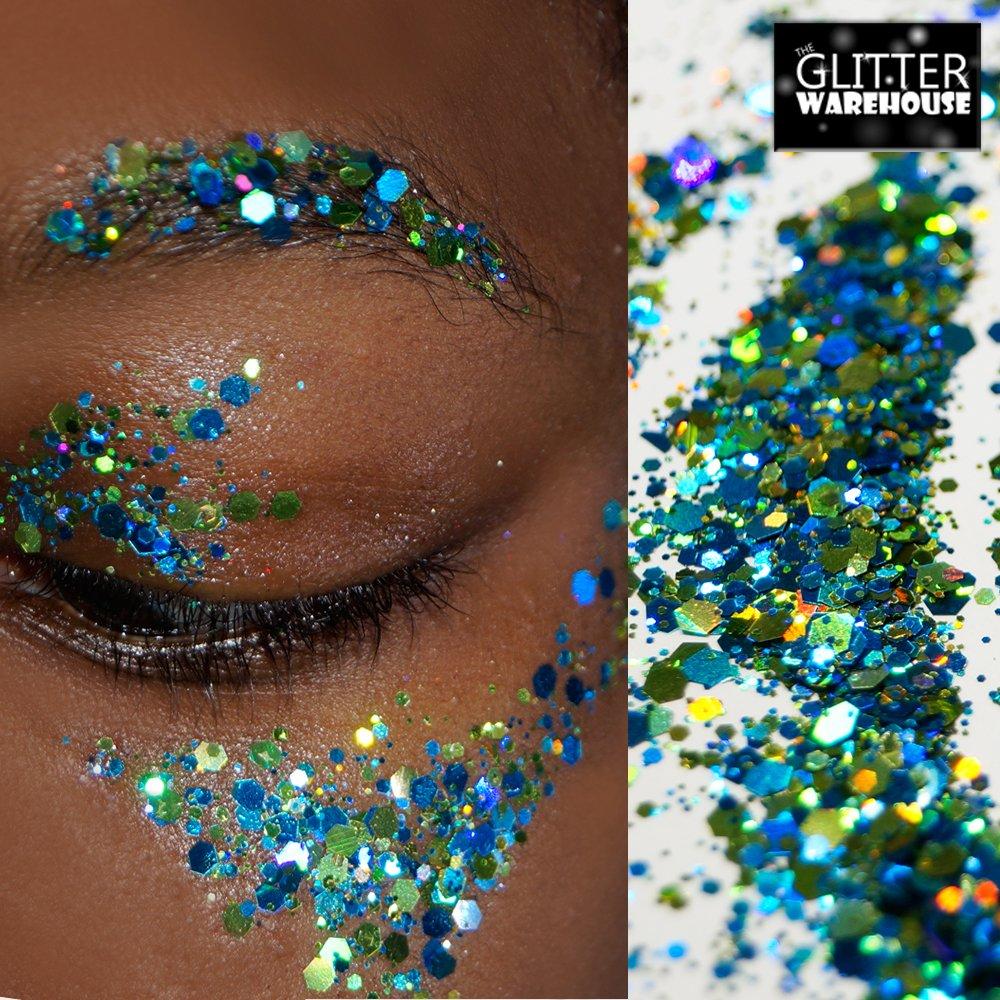 GlitterWarehouse Chunky Aqua Blue Green Loose Holographic Solvent Resistant Cosmetic Grade Glitter (20g Jar)
