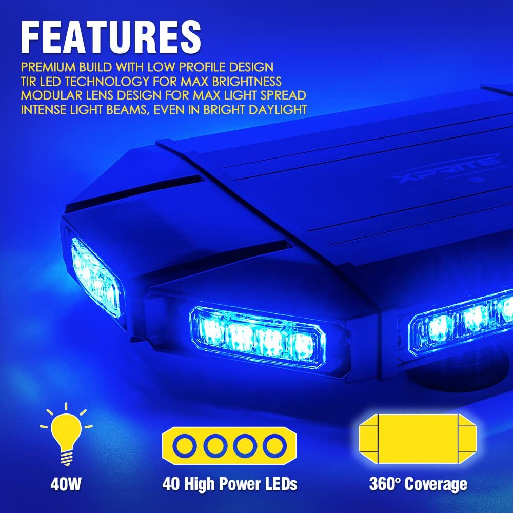Xprite Black Hawk Mini 18 Professional White Amber LED Stealth Low Profile Law Enforcement and Security Magnetic Roof Top Strobe Light Bar
