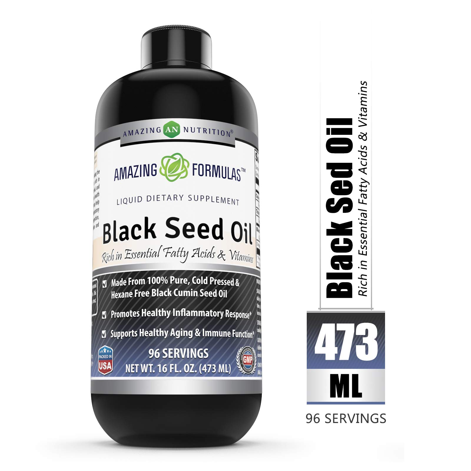 Amazing Formulas Black Seed Oil Natural Dietary Supplement - Cold Pressed Black Cumin Seed Oil from 100% Genuine Nigella Sativa - 16 oz. Bottle by Amazing Nutrition
