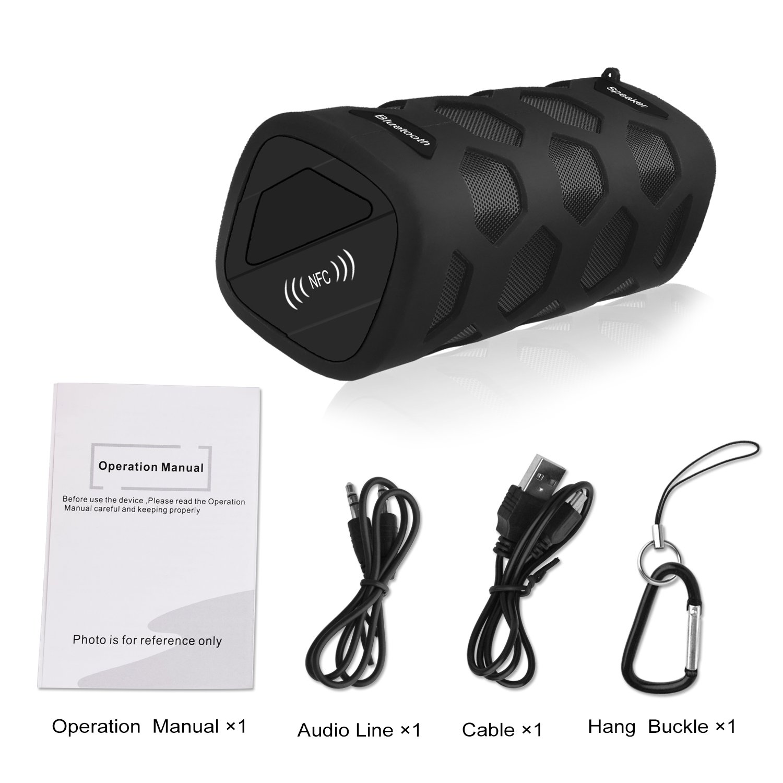 LOBKIN wasserdichter Bluetooth-Lautsprecher - IP65-Zertifiziert - Staubdicht & Stoßfest – NFC Power Bank– Freisprechfunktion durch eingebautes Mikrofon - 10W 18650 4000mAh Lithium-lon-Akku - kompatibel mit allen Bluetooth-Wireless- Geräten