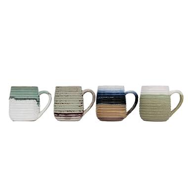 Creative Co-op Large Multicolor Stoneware Ribbed Sides (Set of 4 Colors) Mug,