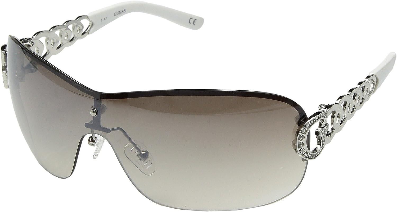 f3847151ce5 Amazon.com  GUESS Women s GU7254 Silver Gradient Smoke Flash Lens 1 One  Size  Clothing