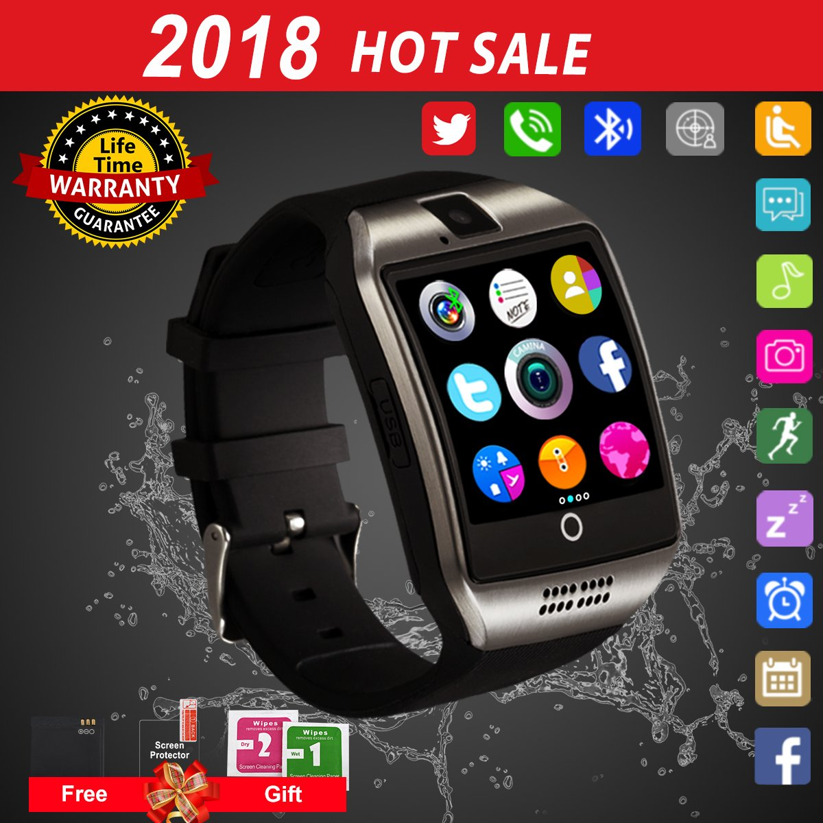Smart Watch Android Phones,Waterproof Smart Watches,Android Smartwatch Touchscreen Camera,Bluetooth Watch Phone SIM Card Slot Compatible Samsung iOS iPhone X 8 7 6 6S Plus 5 Men Women by Luckymore