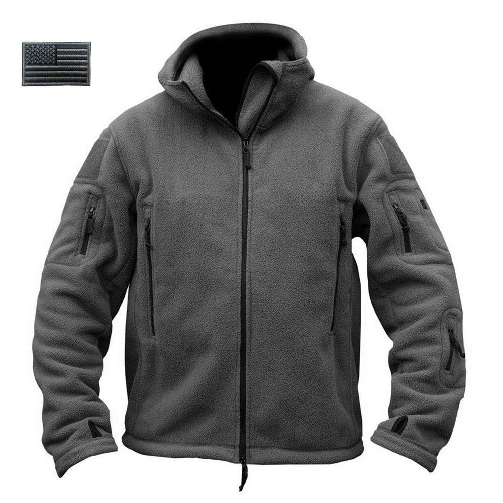 ReFire Gear Men's Warm Military Tactical Sport Fleece Hoodie Jacket, Gray, XX-Large