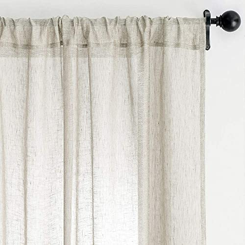 MRTREES Flax Linen Textured Sheer Curtain Tiers 45 inch Length Basement Kitchen Window Sheers Bathroom Short Curtain Panels Rod Pocket Cafe Curtains Light Filtering 2 Panels