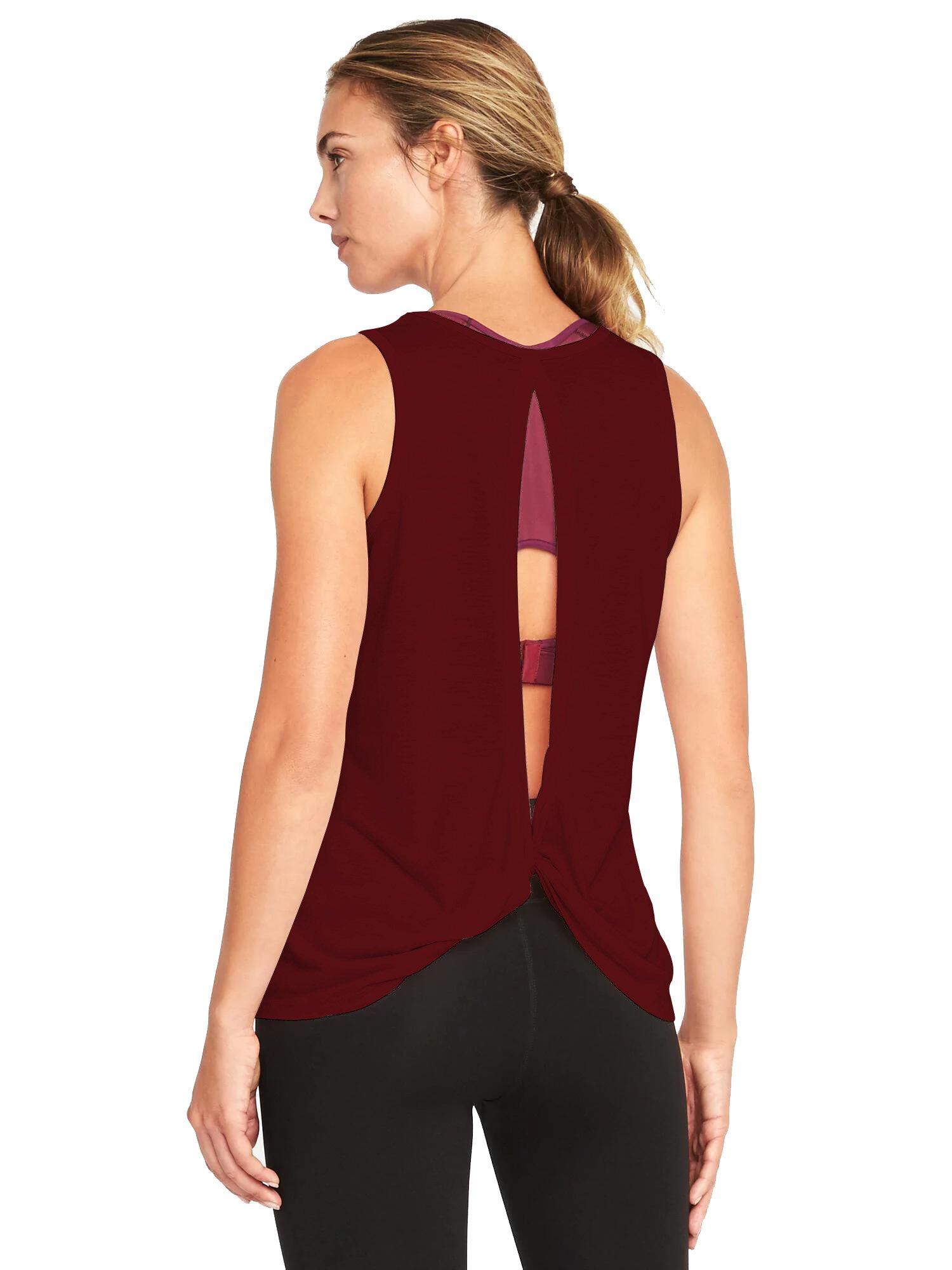 Bestisun Women's Sexy Yoga Tank Top Backless Open Back Workout Cute Style Sport Shirt Casual Knit Tee Wine Red L