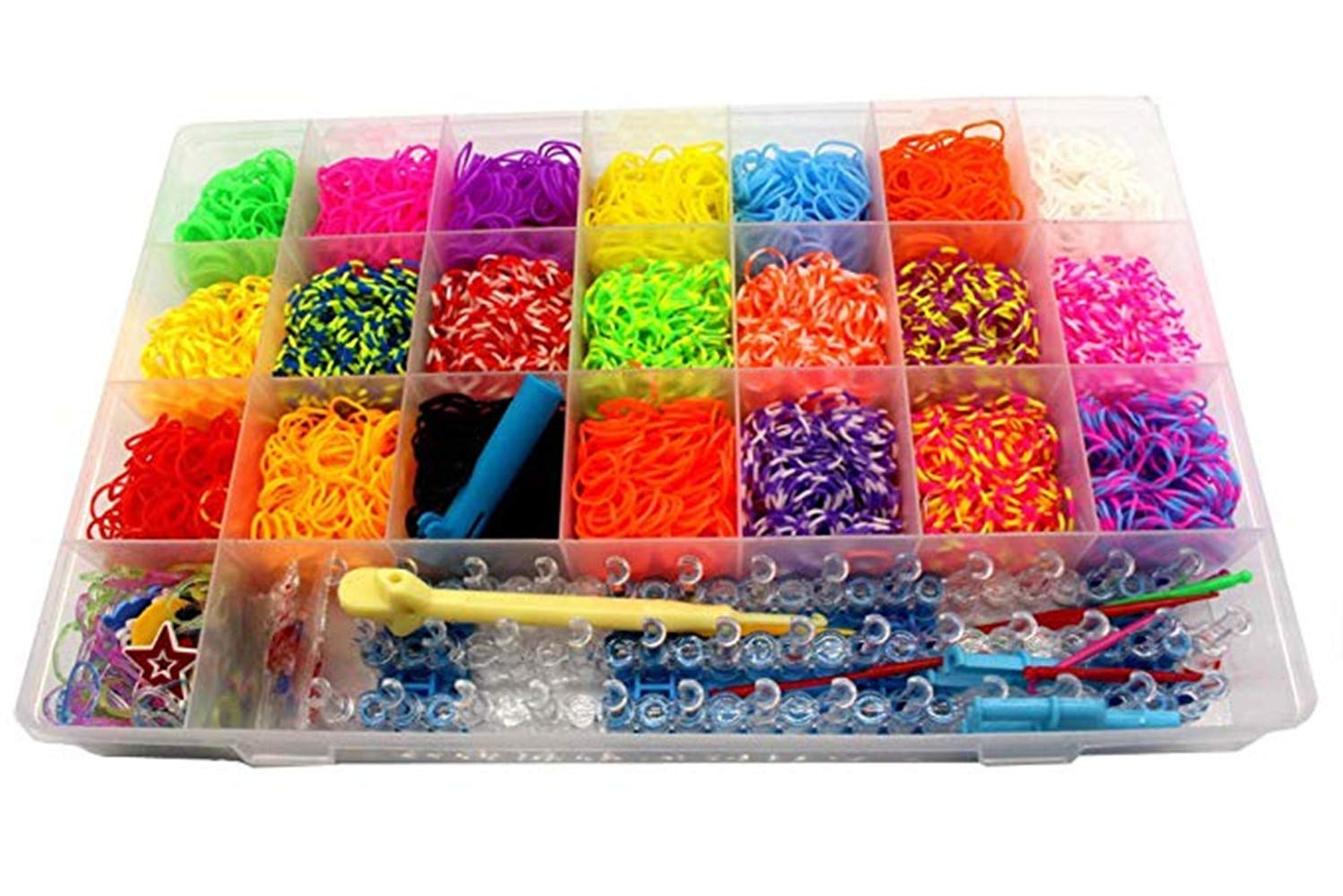 Rubber Bands for Loom 4479+ Rubber Bands Set,4400 Rubber Band(22 Colors),1 Big Hook,6 Small Hook,20 Pendants,1 Weaver,2 Y-Shape,1 Button Stickers(Random 1 Pack)