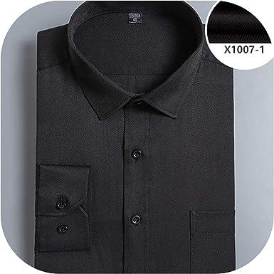 Ocean-Beautiful Business - Camisa de vestir para hombre, cuello cuadrado, manga larga, fácil cuidado, botón delgado: Amazon.es: Ropa y accesorios