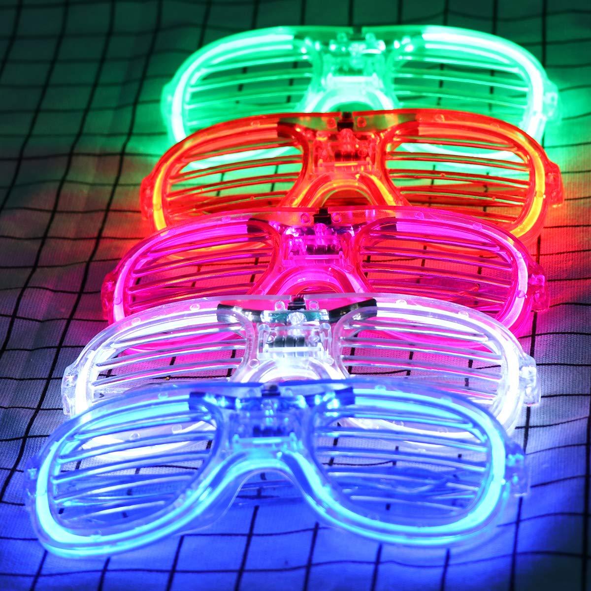 Lunettes de Soleil Toyvian Lot de 10 Paires de Lunettes LED Lumineuses en n/éon pour f/ête