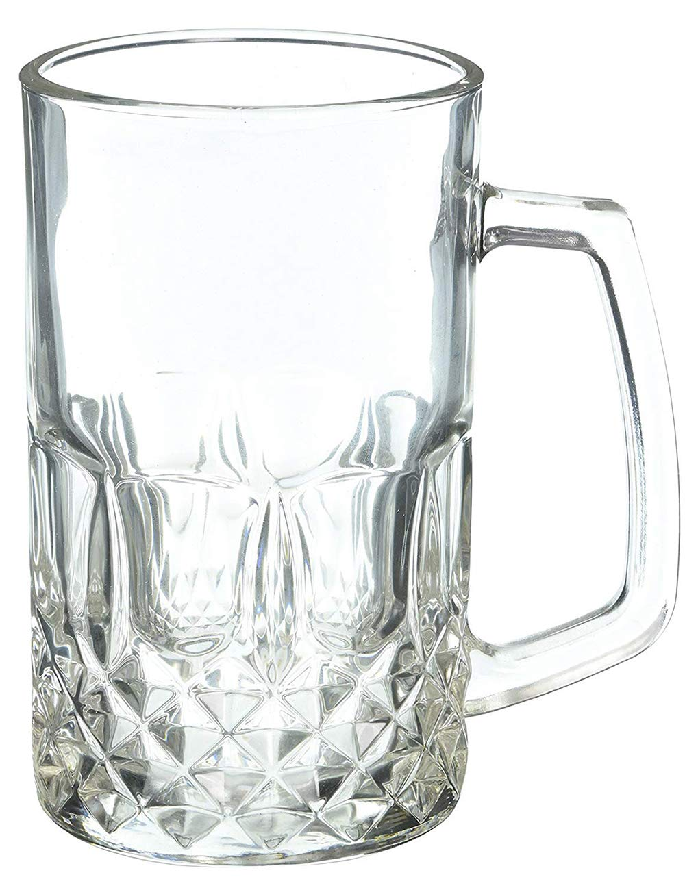 Momugs 20 Ounces Beer Stein Mugs, German Clear Large Tall Beer Glasses for Men, Set of 2