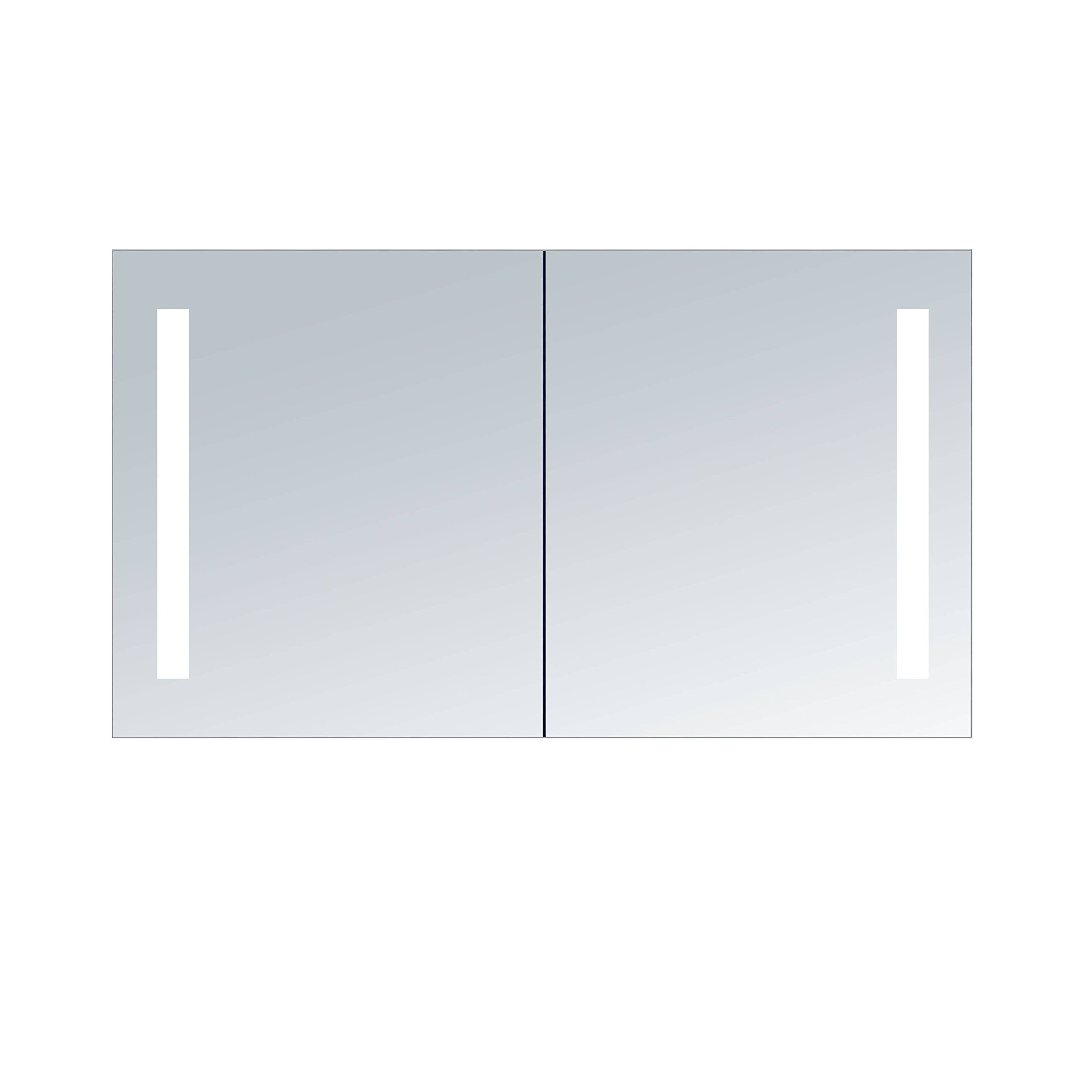 Innoci-USA Zeus LED Double Door Wall Mount Mirrored Lighted Medicine Cabinet Vanity Featuring IR Sensor, Tempered Glass Shelves and Rocker Switch 30'' x 26''