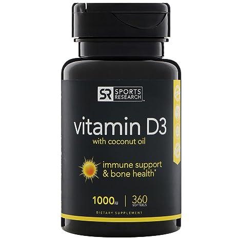Sports Research Vitamina D3 (1000 Ui) Con Aceite De Coco Para Una Mejor Absorción