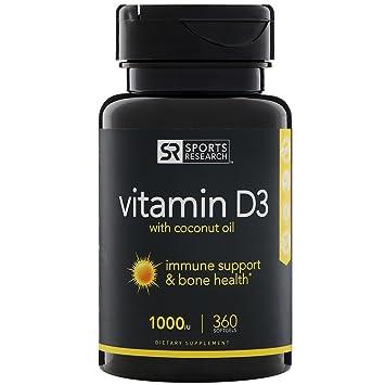 Sports Research Vitamina D3 (1000 Ui) Con Aceite De Coco Para Una Mejor Absorción - 360 Cápsulas De Mini: Amazon.es: Salud y cuidado personal