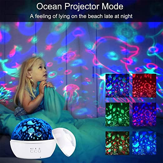Star Lights Projector For Kids, LED 360 ° Rotating Ocean Baby ...