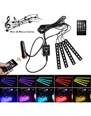 4x LED Strip Lights - POSSBAY 36 LED Car Interior Lights Footwell Lights Dimmable Lighting Kit, Car Mood lights Colorful Decorative Lights with Sound-activated Music Control