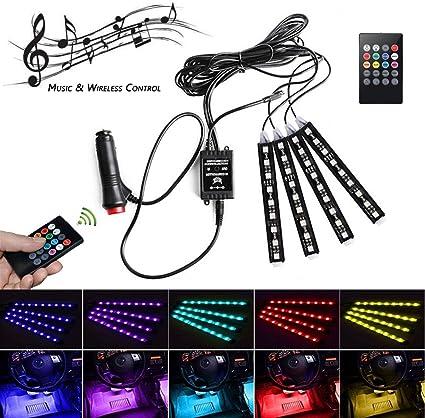POSSBAY 4 en 1 RGB Lampe LED D/écoration Int/érieur de Voiture Auto N/éon Atmosph/ère Lights avec t/él/écommande sans fil