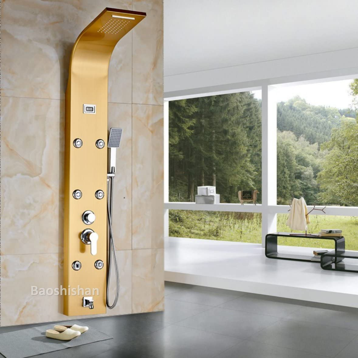 Columna de ducha termostática cuerpo massag Jets caliente y fría ...