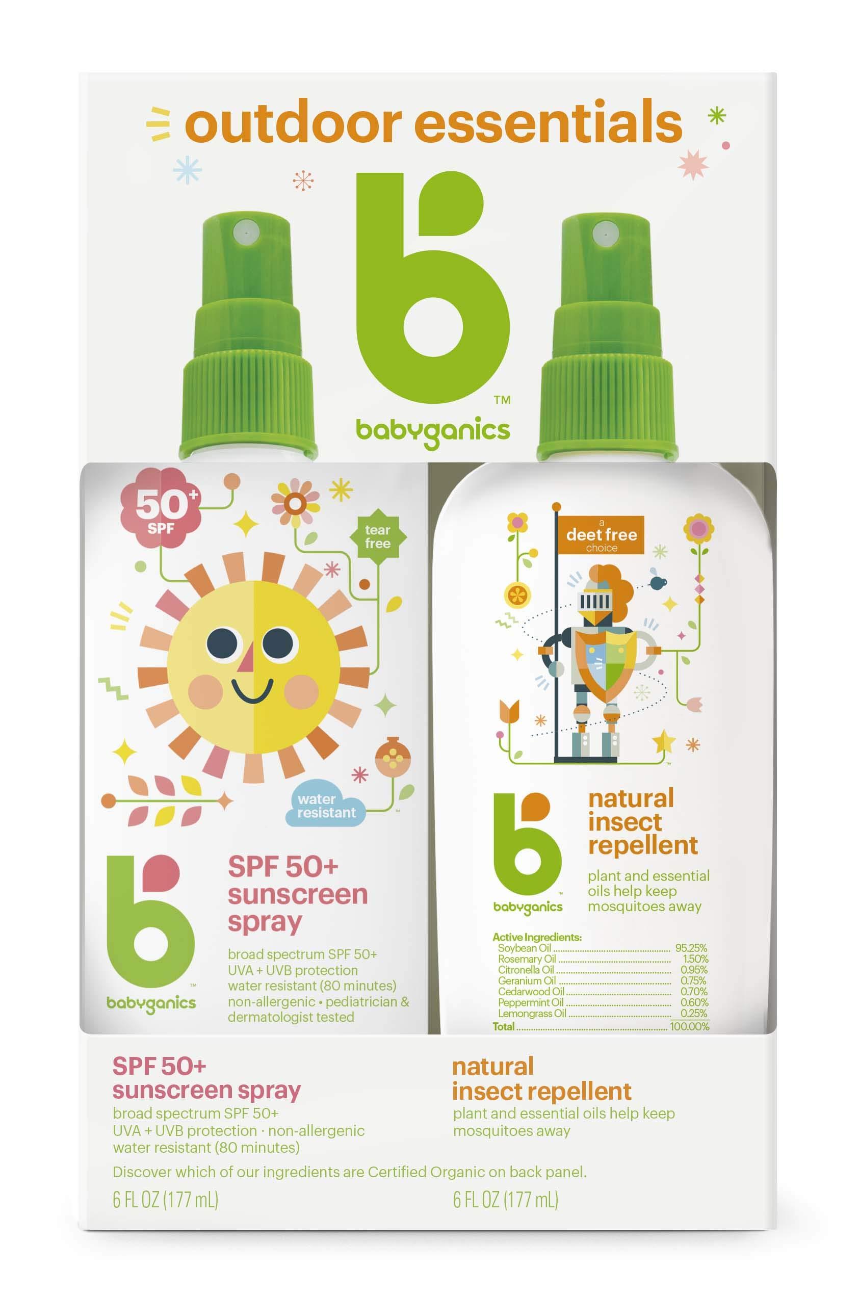 Babyganics Sunscreen Spray 50 SPF and Bug Spray, 6oz each, Packaging May Vary by Babyganics