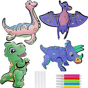 Motiloo Dinosaur Balloon- 3D Craft Art Painting Balloon kit 4 Pack for Boys & Girls -Dinosaur Balloon DIY Coloring Balloons Toy Set Dinosaur