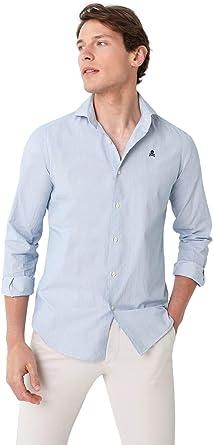 Scalpers Camisa ALGODÓN Calavera Contraste - White Navy Stripes / 43: Amazon.es: Ropa y accesorios