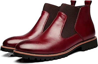 Boots Bottines Homme Cuir Rouge