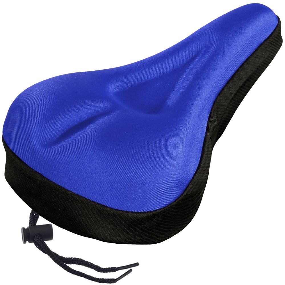 Zacro Gel Bike Seat Cover- Extra Soft Gel Bicycle Seat - Blue Bike Saddle Cushion with Black Water&Dust Resistant Cover (Blue)