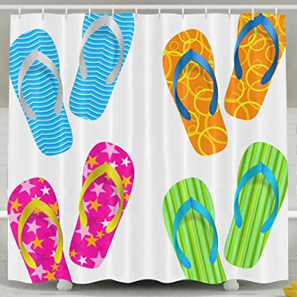 SARA NELL Waterproof Beach Flip Flop Shower Curtain For Bathroom Fabric Bath Eco