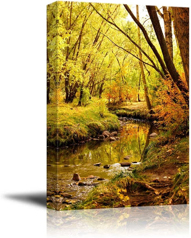 Home Decor Creek In Forest Art//Canvas Print Poster Wall Art