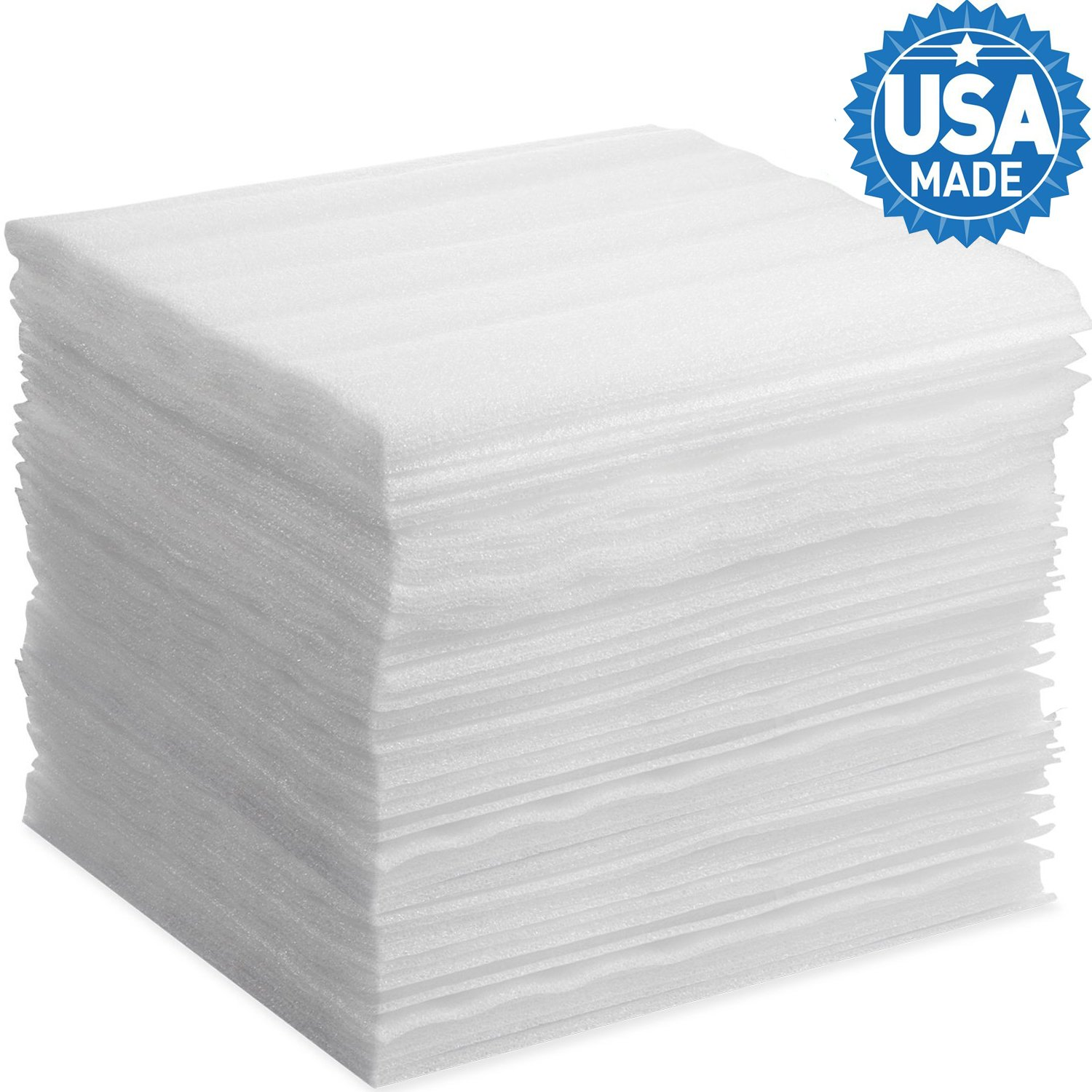 """Foam Wraps, DAT 18"""" x 18"""" Foam Wrap Sheets Cushioning for Moving Storage Packing and Shipping Supplies, 50-Pack (18'' x 18'', White)"""