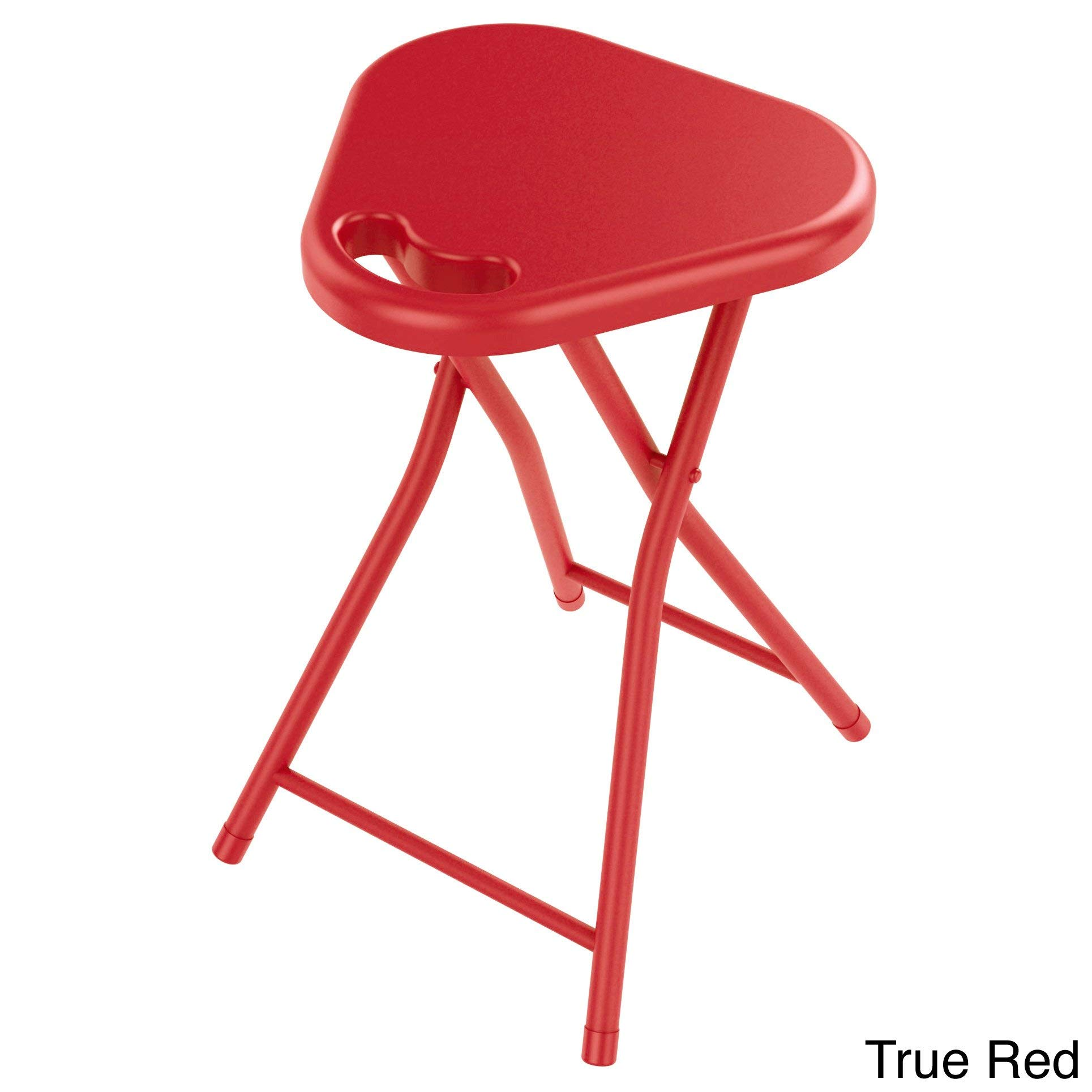 Set of 4 Red Folding Stool with Handle Heavy Duty Folded Stool Chair Indoor Outdoor Portable Sitting Stool for Home Garage Picnic Office Household Lightweight Durable Quality Metal, Plastic by MISC