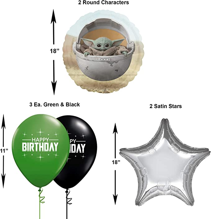 Ziggos Party Star Wars Mandalorian 6th Birthday Balloon Decoration kit Black Number 6 The Child Round and Latex Balloons