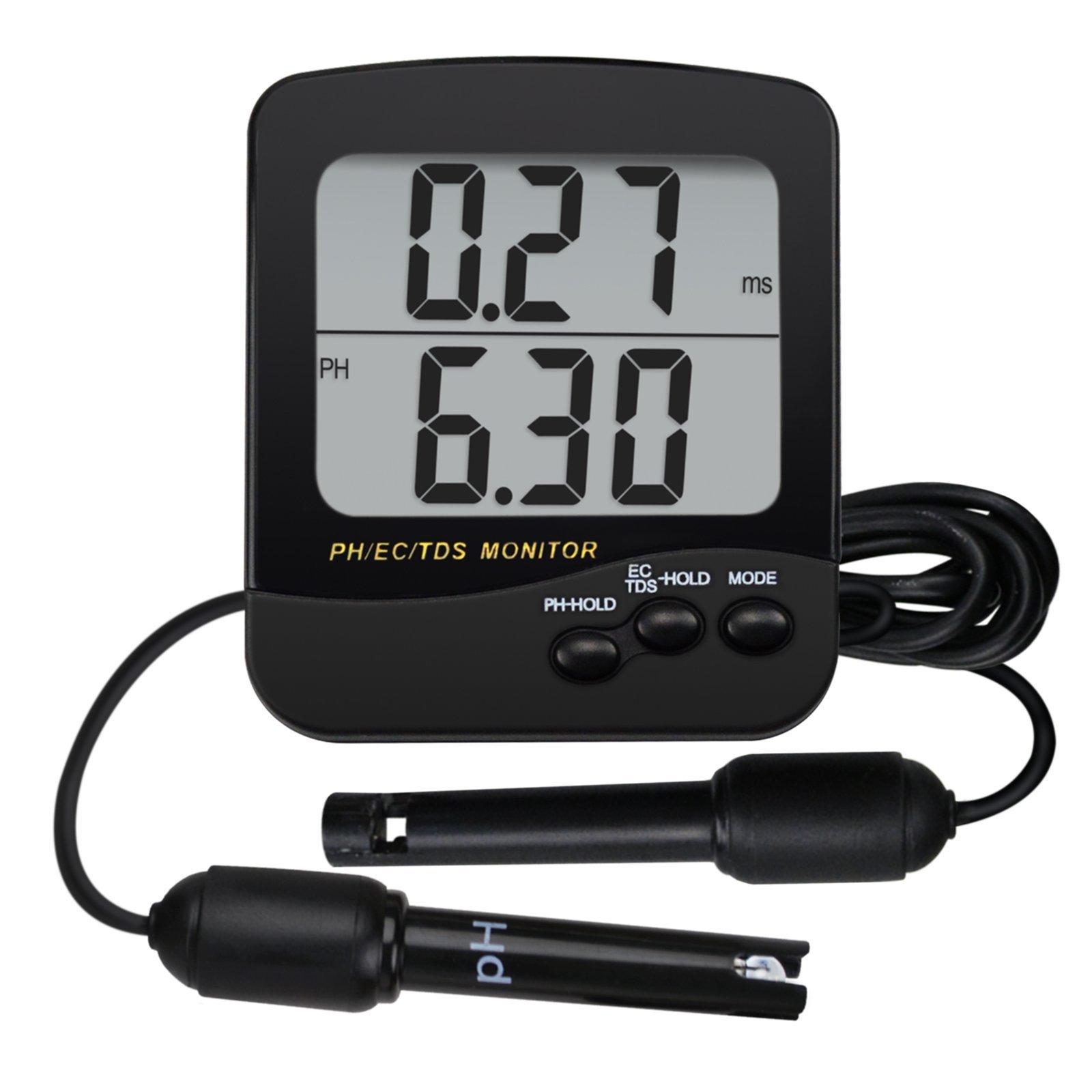 3-in-1 pH, EC & TDS Conductivity Monitor ATC w/ 3.5'' Large Dual Display, Digital Water Quality Meter Tester Multi-Parameter, Desktop/Wall Mountable, for Aquaculture, Aquarium, Pond, Hydroponics