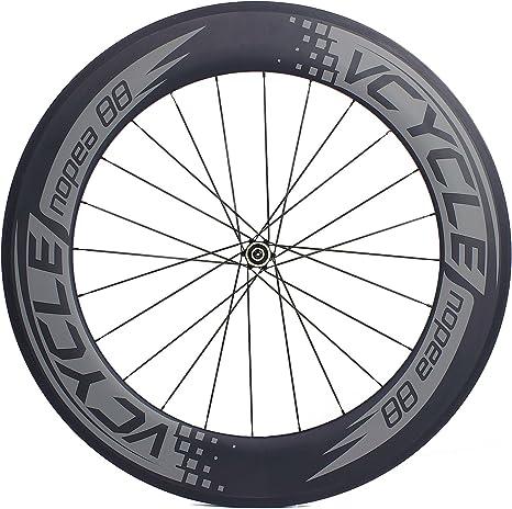 VCYCLE Nopea 700C Carbono Carreras Bicicleta De Carretera Ruedas 88mm Tubular 23mm Ancho UD Mate Recto Perfilado Shimano 8/9/10/11 Velocidad(Rueda Trasera): Amazon.es: Deportes y aire libre