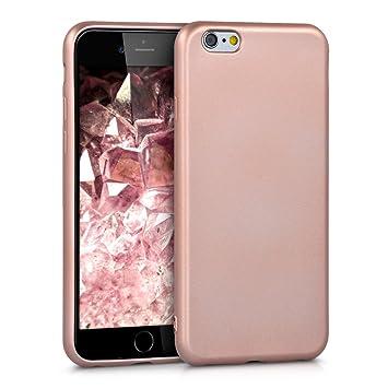 kwmobile Funda para Apple iPhone 6 / 6S - Carcasa para móvil en TPU silicona - Protector trasero en oro rosa metalizado