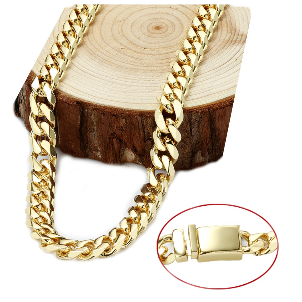 Gold chain necklace 14.5MM 24K Diamond cut Smooth Cuban Link with Warranty Of A LifeTimeLifetime USA made (28) by 14k Diamond Cut Smooth Cuban (Image #1)