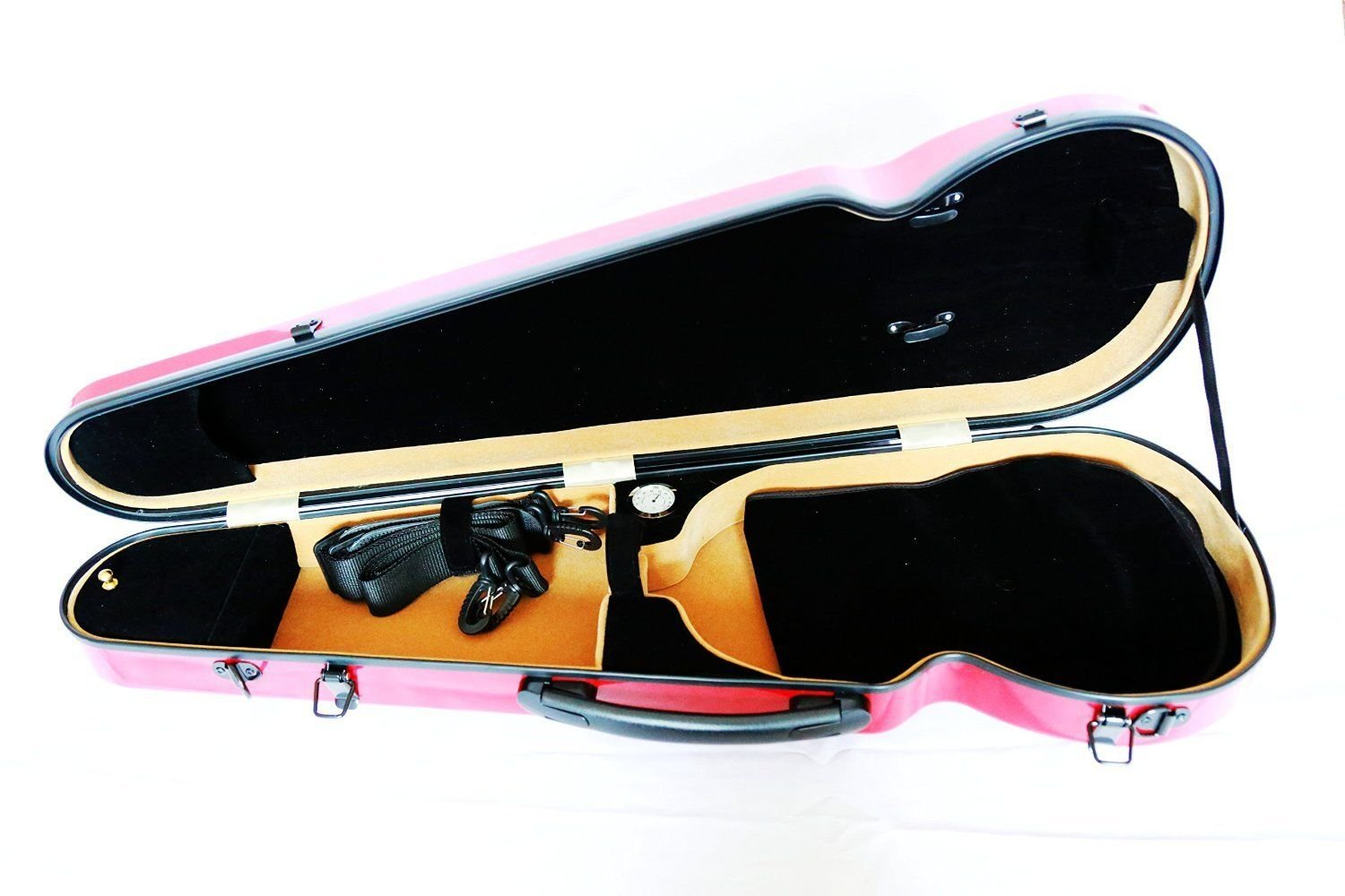 Vio Music Full Size Hightech Carbon-Like Combo Violin Case 4/4-Red, New Design