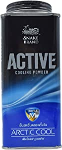 Snake Brand Prickly Heat New Active Cooling Powder Arctic Cool 140 grams