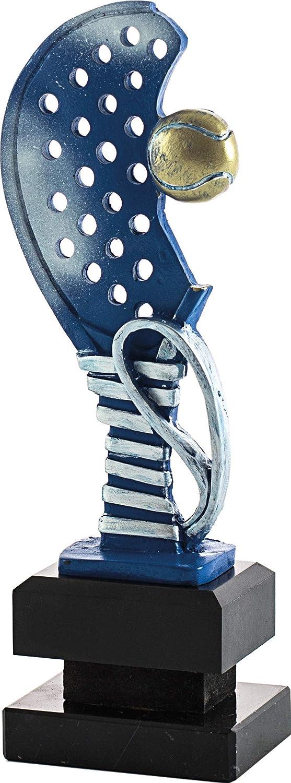 Art-Trophies TP445 Trofeo Deportivo Raqueta Pádel, Azul, 28 cm