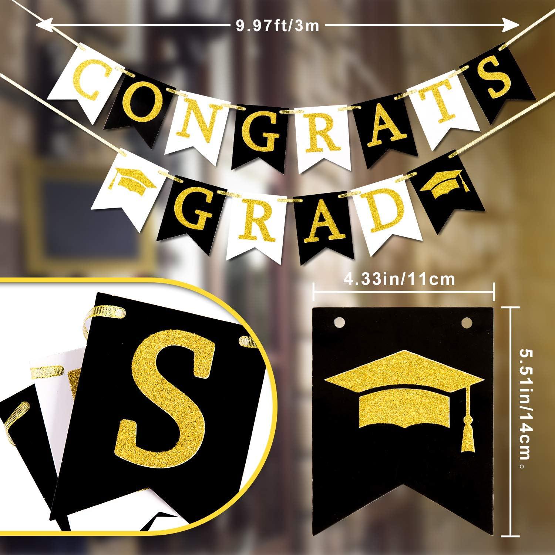Bianco e Oro Ghirlanda Da Appendere Bomboniere Forniture per Senior High College Graduazione Proms Outdoor Home Decor Whaline Congrats Grad Banner No DIY Graduazione Bandierine Nero