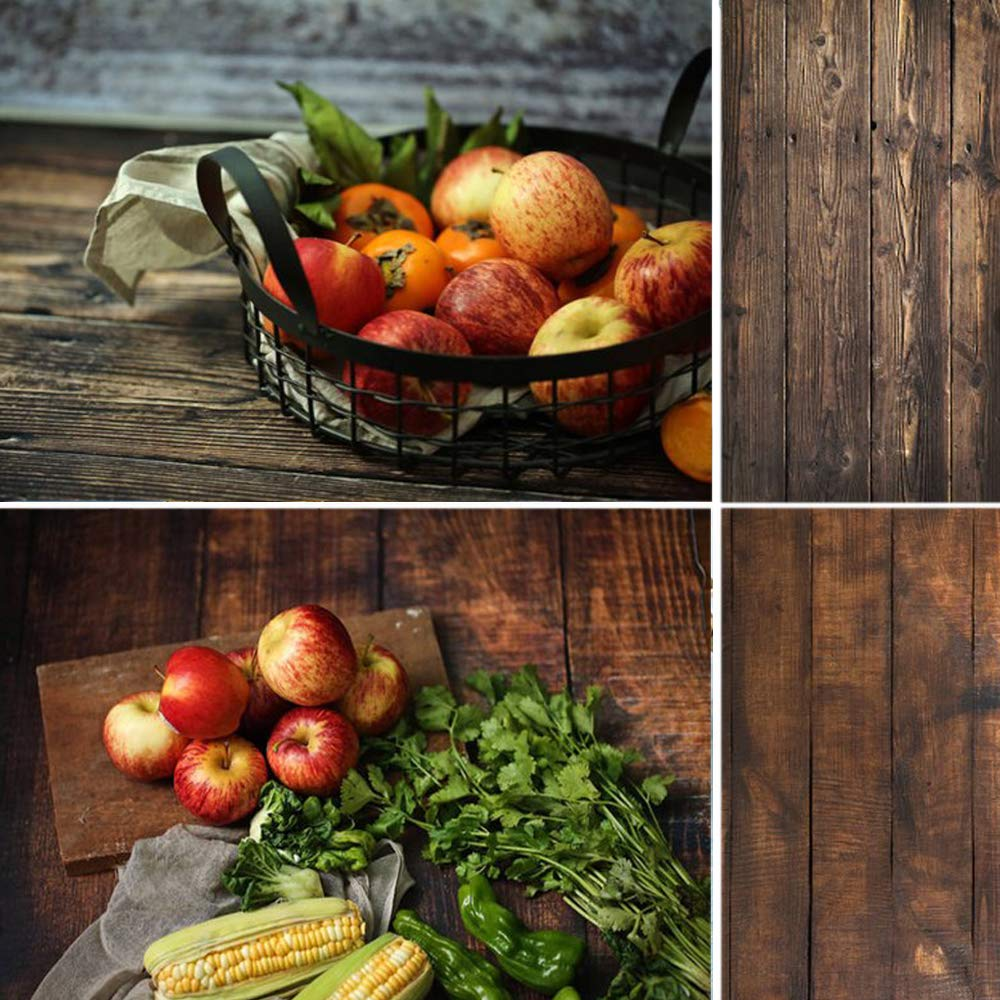 Selens 22x35Inch 2-in-1 Food Photography Wooden Background 4pcs Paper for Photographers, Foodies, Gourmet Bloggers, Cosmetic Sellers, Online Stores Product Photography, Life Photos and More by Selens (Image #2)