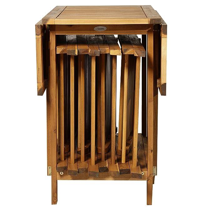 Outsunny Juego de Comedor Plegable 5 Piezas Conjunto de Mesa y 4 Sillas de Comedor Madera de Acacia para Exterior Jardín Terraza Patio