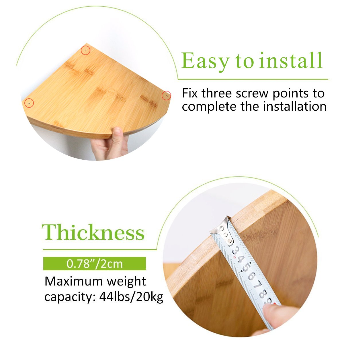 Corner Floating Shelf, Heavy Duty 2 Pack Bamboo Wall Mount Corner Cabinet Shelves Unit Organizer Set for Kitchen Bathroom Shower Bedroom