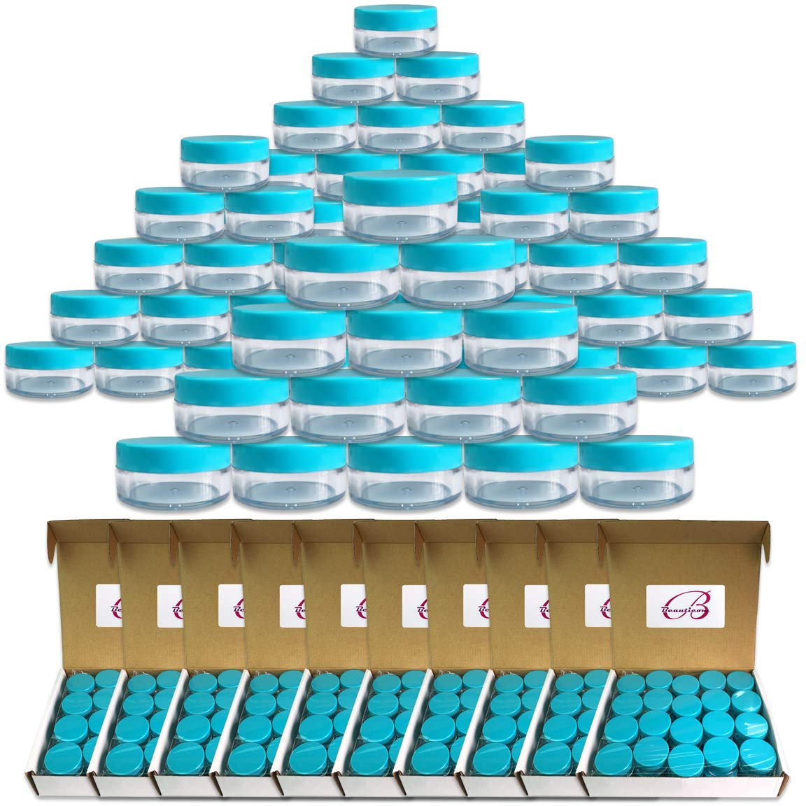 (Quantity: 600 Pieces) Beauticom 10G/10ML Round Clear Jars with TEAL Sky Blue Lids for Lotion, Creams, Toners, Lip Balm, Makeup Samples - BPA Free