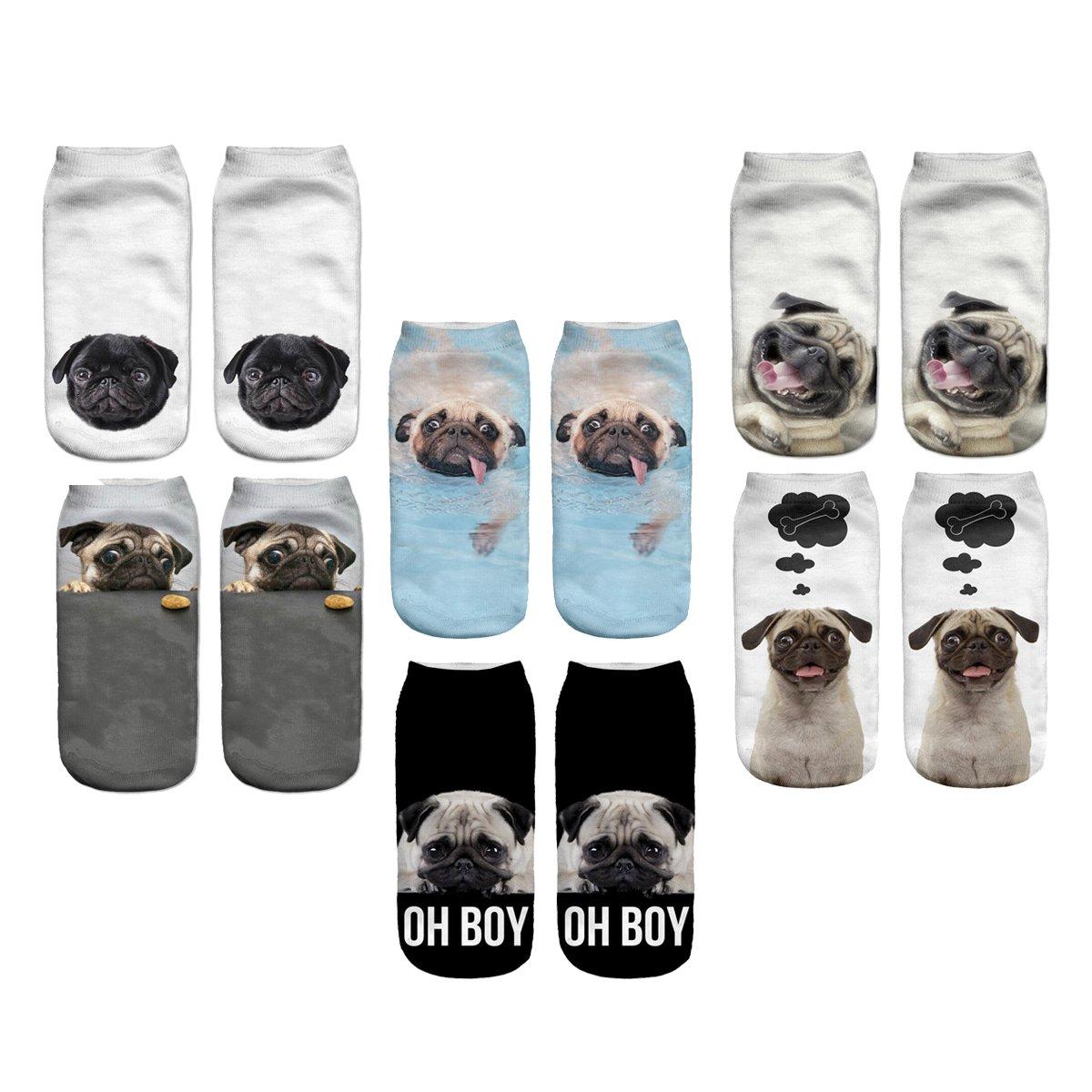 3D Cartoon Funny Low Cut Ankle Socks Amazing Novelty Print Boat Socks (Pug)