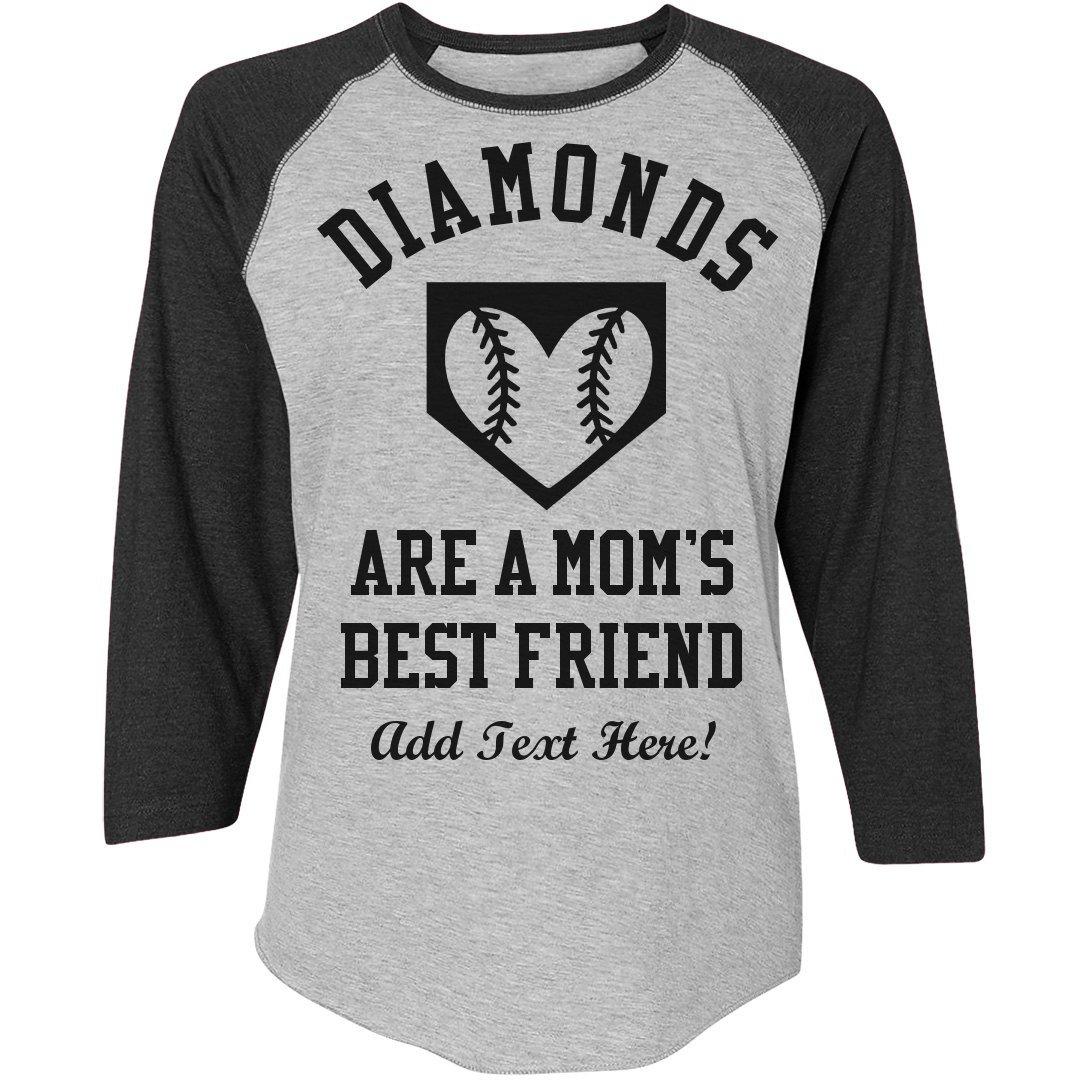 9381e9d5 Amazon.com: Baseball Mom Loves Diamonds: Ladies Relaxed Fit 3/4 Sleeve Raglan  Tee: Clothing