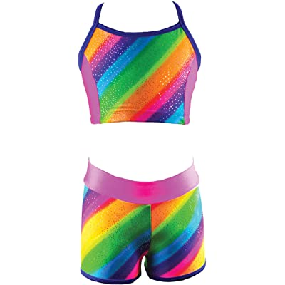 Reflectionz Girls Rainbow Stripe Pattern Top & Shorts Set #SET4924 For Exercise, Fitness, Dance, Gymnastics, and Ballet